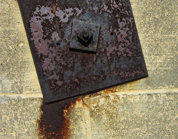 Metal Plate Poster featuring the photograph Metal And Brick by Mary Bedy