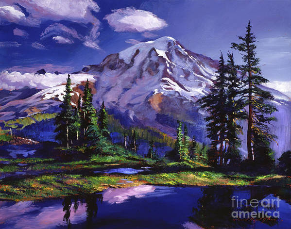 Landscape Poster featuring the painting Midnight Blue Lake by David Lloyd Glover