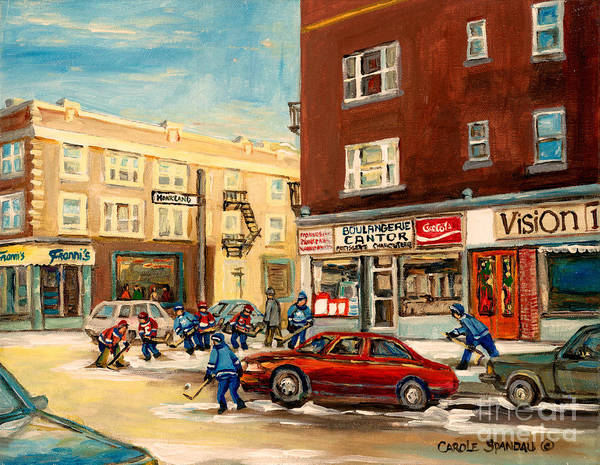 Montreal Poster featuring the painting Monkland Street Hockey Game Montreal Urban Scene by Carole Spandau