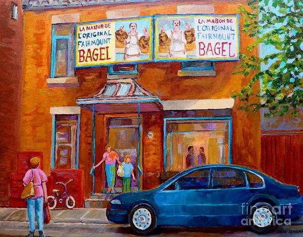 Fairmount Bagel Poster featuring the painting Paintings Of Montreal Fairmount Bagel Shop by Carole Spandau