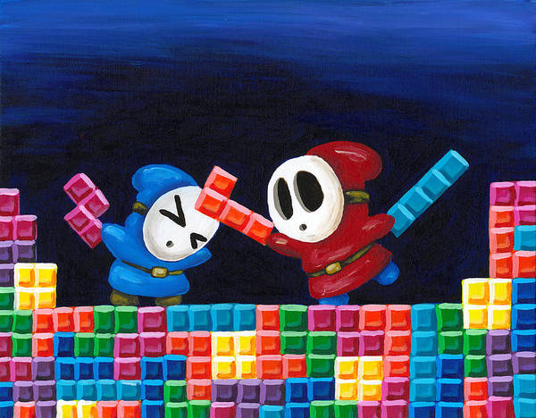 Shy Guy Poster featuring the painting Shy Guys Playing Tetris by Katie Clark