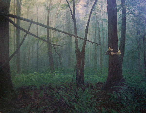 Realism Poster featuring the painting The Blue-green Forest by Derek Van Derven
