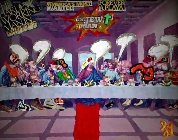 #photography #photographer #photo #photos #pic #pics #picture #pictures #snapshot #picoftheday #photooftheday #exposure #composition #focus #capture #moment #fashion #lisapiper#lisa-piper#religion #jesus #the Man #last Supper #sale#dirtywhitepants Poster featuring the painting The Last Last Supper by Lisa Piper