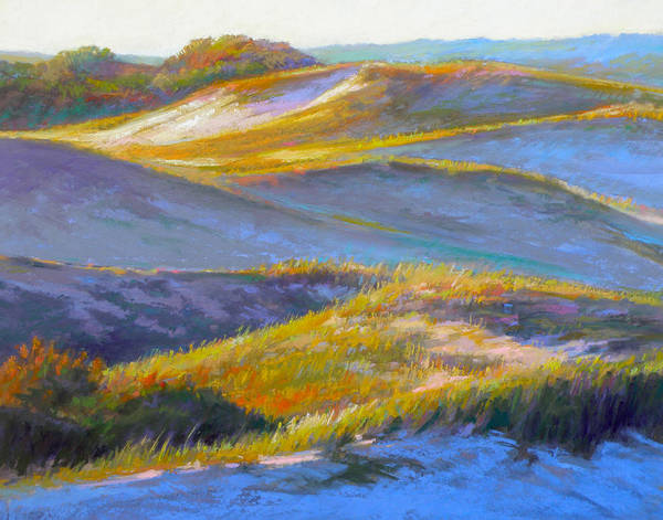 Sand Dunes Poster featuring the painting Valley Of The Dunes by Ed Chesnovitch