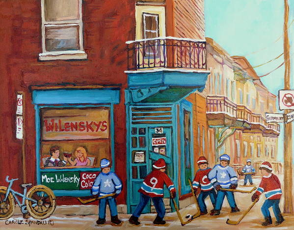 Wilensky's Montreal Poster featuring the painting Wilensky Montreal-fairmount And Clark-montreal City Scene Painting by Carole Spandau