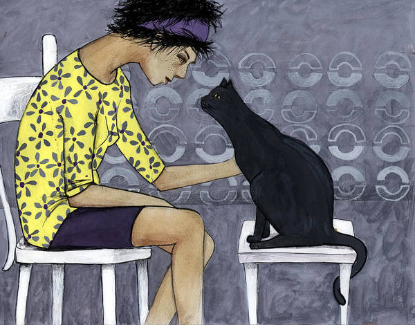 Teenager Poster featuring the digital art Cat Talk by Georgiana Chitac