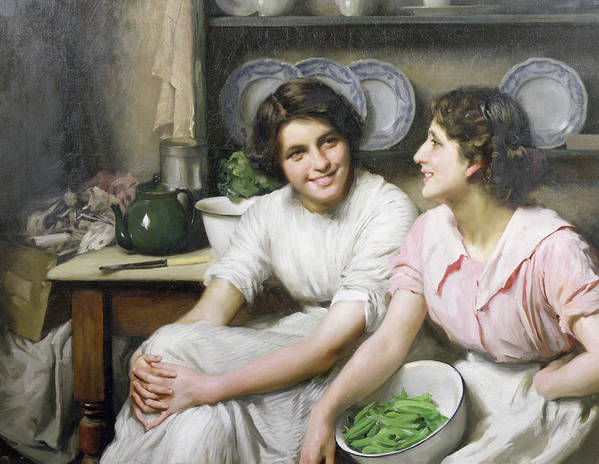 Chatterboxes Poster featuring the painting Chatterboxes by Thomas Benjamin Kennington