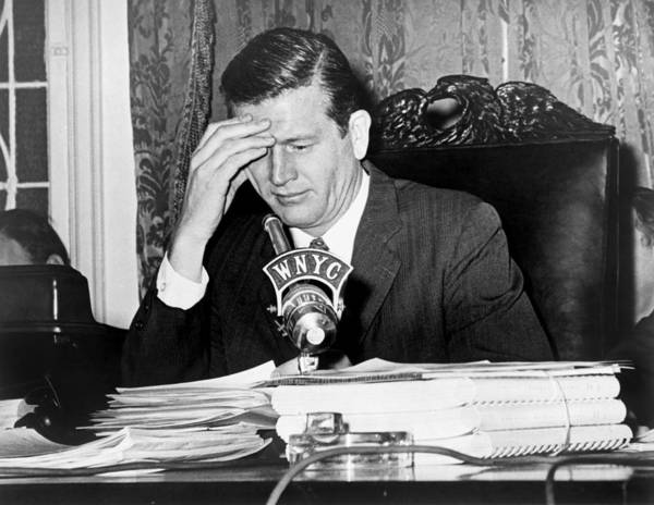 History Poster featuring the photograph Mayor John Lindsay, Speaking Into Wnyc by Everett