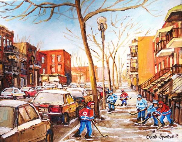 Montreal Street Scene With Boys Playing Hockey Poster featuring the painting Montreal Street With Six Boys Playing Hockey by Carole Spandau