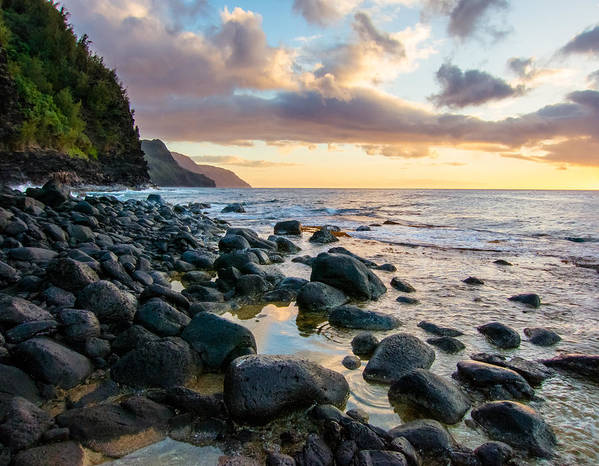 Hawai'i Poster featuring the photograph Na Pali Sunset by Adam Pender
