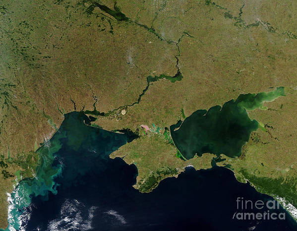 Horizontal Poster featuring the photograph Satellite View Of The Ukraine Coast by Stocktrek Images