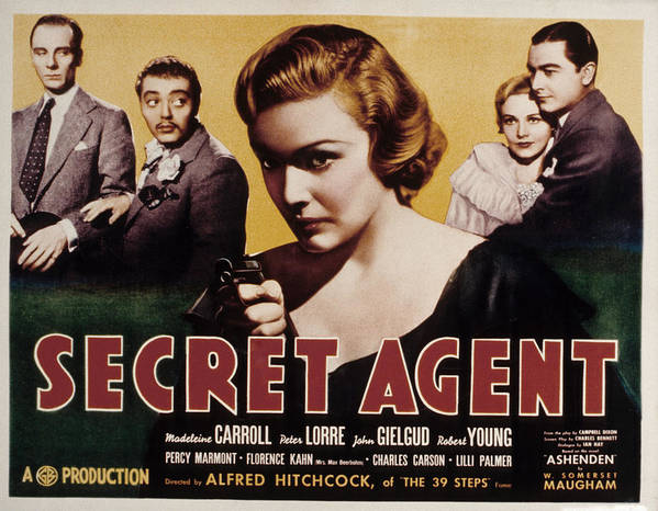 1930s Movies Poster featuring the photograph The Secret Agent, John Gielgud, Peter by Everett
