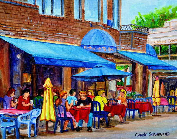 Summer Cafes Poster featuring the painting Ti Amo Restaurant Prince Arthur Street Montreal by Carole Spandau