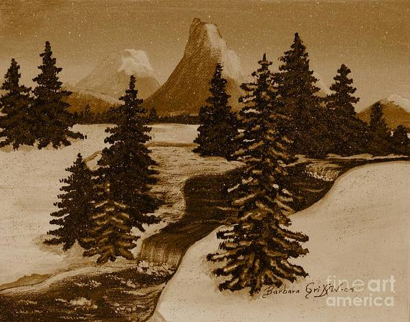 When It Snowed In The Mountains Poster featuring the painting When It Snowed In The Mountains by Barbara Griffin