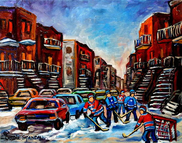 Montreal Poster featuring the painting Late Afternoon Street Hockey by Carole Spandau