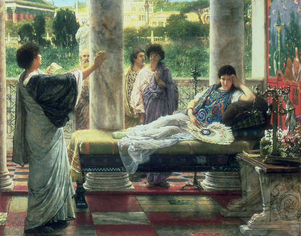 Catullus Poster featuring the painting Catullus Reading His Poems by Sir Lawrence Alma-Tadema