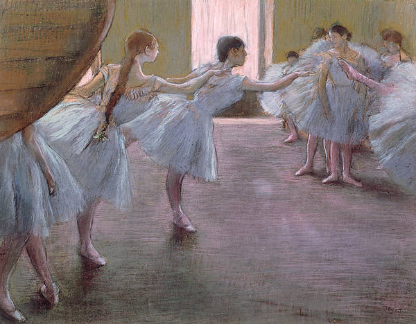 Edgar Poster featuring the pastel Dancers At Rehearsal by Edgar Degas
