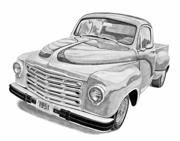 1951 Studebaker Pickup Truck Poster featuring the drawing 1951 Studebaker Pickup Truck by Daniel Storm