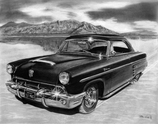 1953 Mercury Monterey Poster featuring the drawing 1953 Mercury Monterey On Bonneville by Peter Piatt