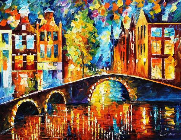 Afremov Poster featuring the painting Amsterdam by Leonid Afremov
