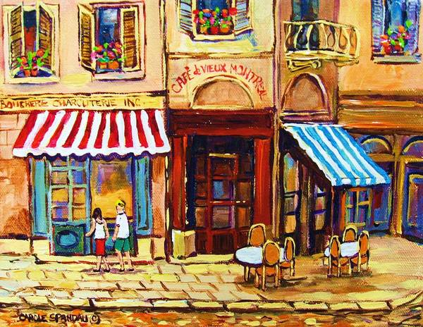 Old Montreal Outdoor Cafe City Scenes Poster featuring the painting Cafe De Vieux Montreal With Couple by Carole Spandau