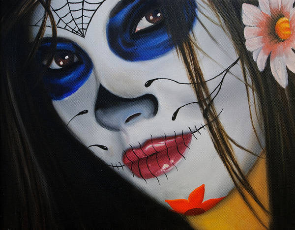 Oil Painting Poster featuring the painting Day Of The Dead Girl by Alex Rios