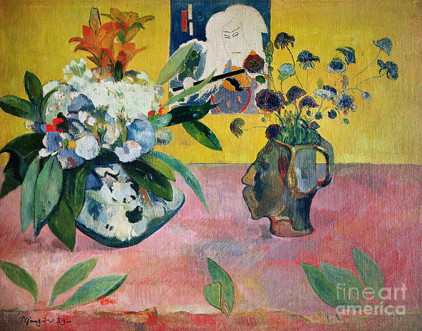 Gauguin Poster featuring the painting Flowers And A Japanese Print by Paul Gauguin