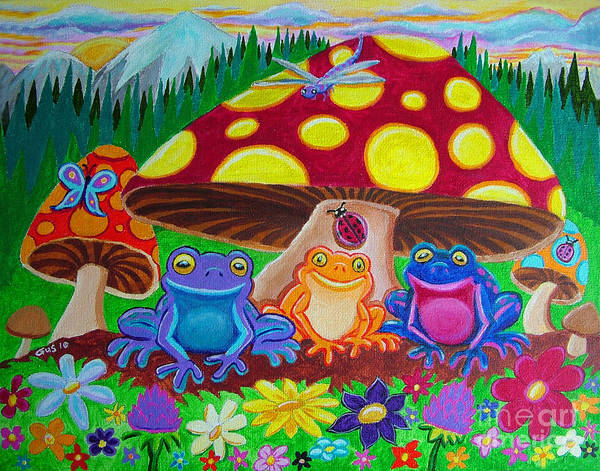 Frogs Poster featuring the painting Happy Frog Meadows by Nick Gustafson
