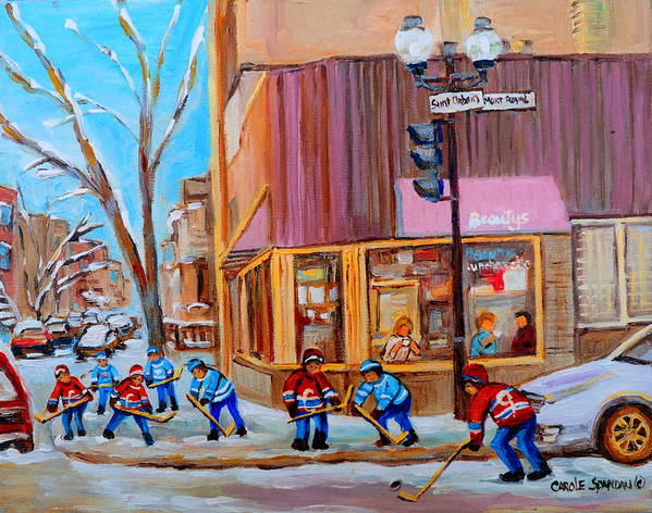 Beautys Luncheonette. Poster featuring the painting Hockey At Beautys Deli by Carole Spandau