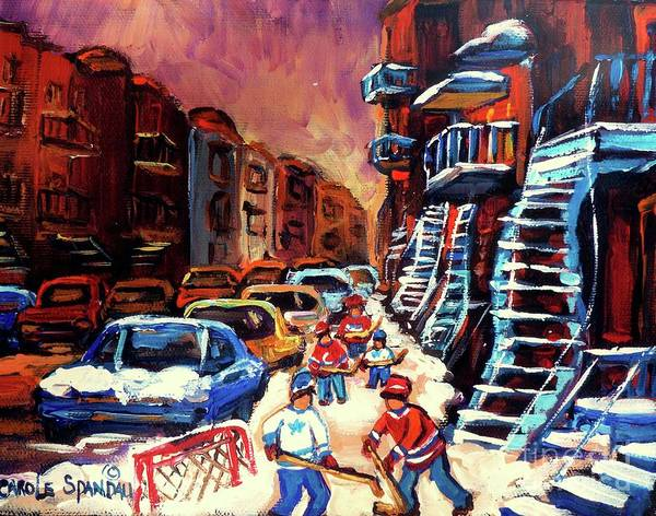 Montreal Poster featuring the painting Hockey Paintings Of Montreal St Urbain Street Winterscene by Carole Spandau