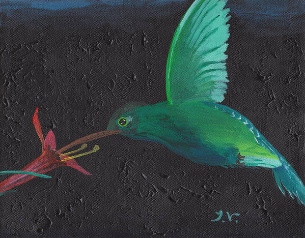 Acrylic Poster featuring the painting Hummingbird Feeding by M Valeriano