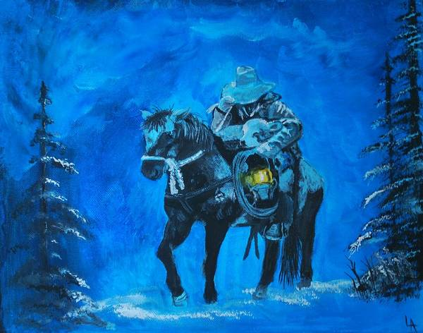 Cowboy Painting Poster featuring the painting I Will Carry You by Leslie Allen