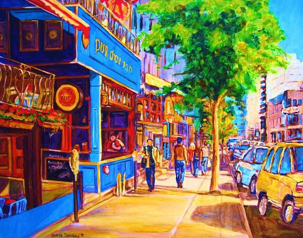 Irish Pub On Crescent Street Montreal Street Scenes Poster featuring the painting Irish Pub On Crescent Street by Carole Spandau