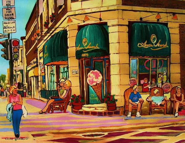 Montreal Streetscenes Poster featuring the painting Laura Secord Candy And Cone Shop by Carole Spandau