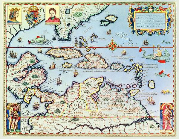 Map Poster featuring the painting Map Of The Caribbean Islands And The American State Of Florida by Theodore de Bry