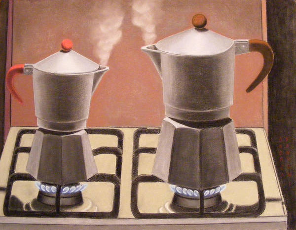 Coffee-pots Poster featuring the pastel Passion by Andrea Vandoni