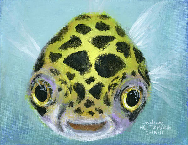 Green Spotted Puffer Fish Poster featuring the painting Puffy by Arleana Holtzmann