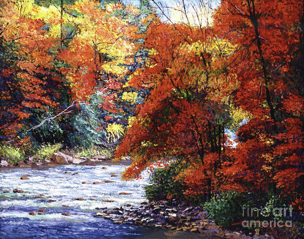 Landscape Poster featuring the painting River Of Colors by David Lloyd Glover