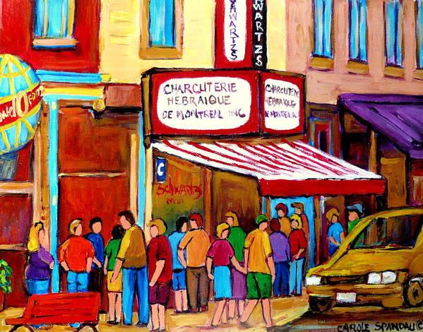 Schwartzs Deli Poster featuring the painting Schwartzs Hebrew Deli Montreal Streetscene by Carole Spandau