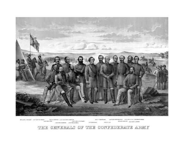 Civil War Poster featuring the mixed media The Generals Of The Confederate Army by War Is Hell Store