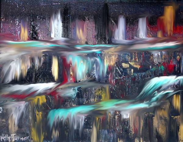 Waterfalls. Cascading Waterfall Poster featuring the painting Waterfalls by Kelly Turner