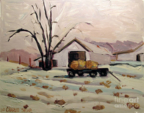 Landscape Poster featuring the painting Bale Wagon by Charlie Spear