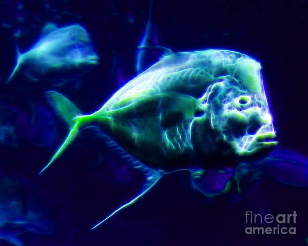 Big Fish Poster featuring the photograph Big Fish Small Fish - Electric by Wingsdomain Art and Photography