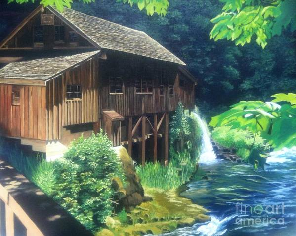 Grist Mill Poster featuring the painting Cedar Creek Grist Mill by Cireena Katto