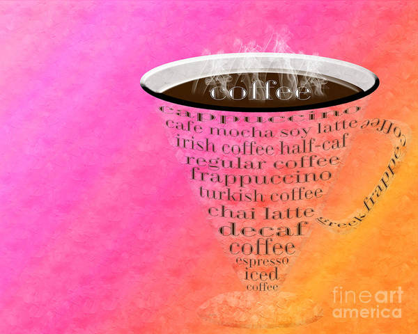 Coffee Poster featuring the digital art Coffee Cup The Jetsons Sorbet by Andee Design