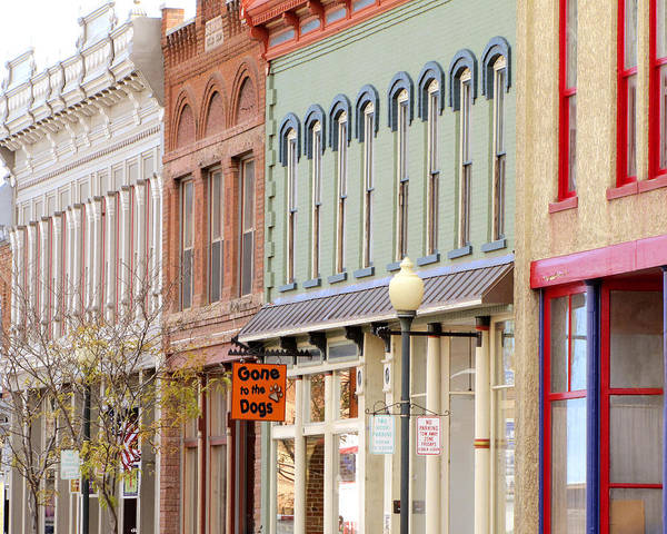 Shops Poster featuring the photograph Colorful Shops Quaint Street Scene by Ann Powell