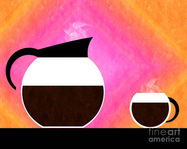Coffee Poster featuring the digital art Diner Coffee Pot And Cup Sorbet by Andee Design