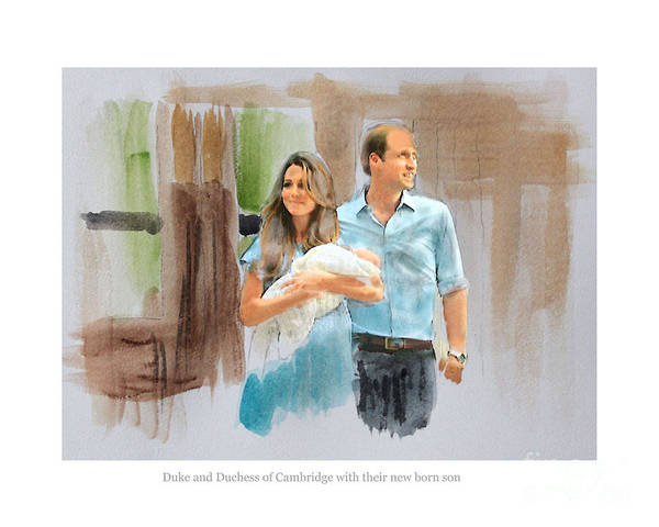 Duke And Duchess Of Cambridge Poster featuring the mixed media Duke And Duchess Of Cambridge With Their New Son by Roger Lighterness