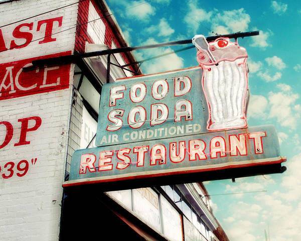 Retro Sign Photography Poster featuring the photograph Elliston Place Soda Shop by Amy Tyler