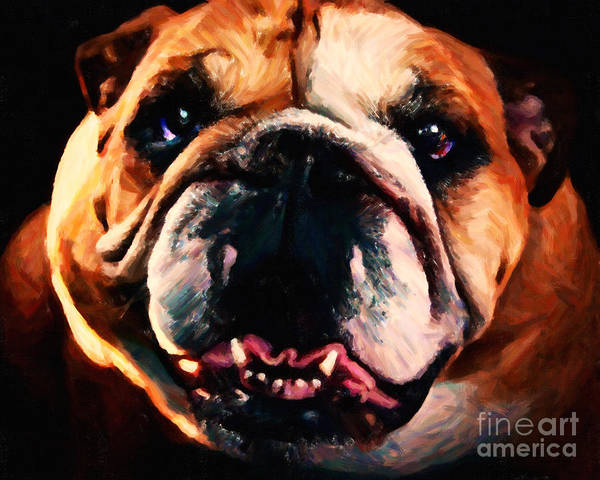 Animal Poster featuring the photograph English Bulldog - Painterly by Wingsdomain Art and Photography